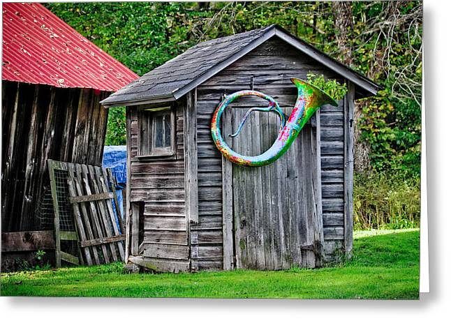 Recently Sold -  - Red Roofed Barn Greeting Cards - Rainbow Tuba Greeting Card by Patsy Zedar