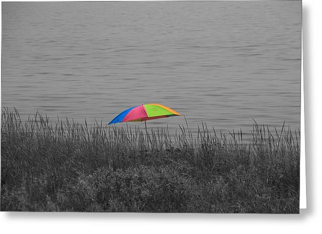 Rainbow Umbrella At The Beach Greeting Card by Dan Sproul