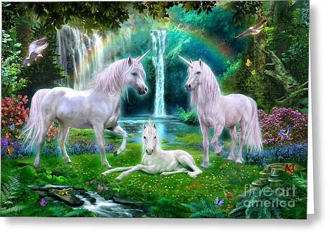 Mythical Landscape Greeting Cards - Rainbow Unicorn Family Greeting Card by Jan Patrik Krasny