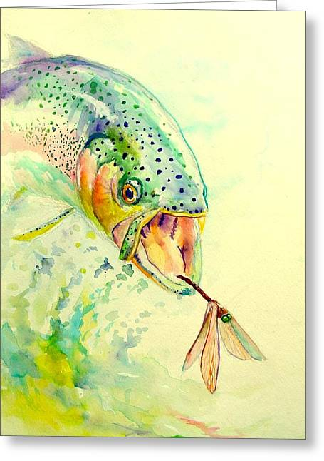 """rainbow Trout"" Greeting Cards - Rainbow Vs Dragon  Greeting Card by Yusniel Santos"