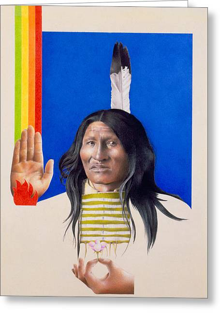 Native American Illustration Greeting Cards - Rainbow Warrior Greeting Card by David Holmes