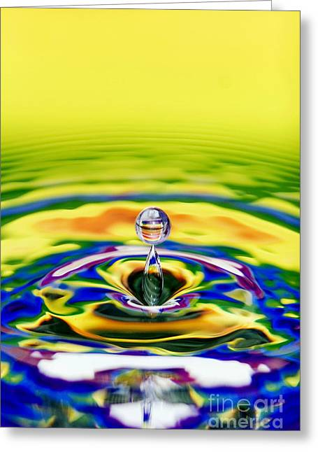 Rainbow Water Drop Greeting Card by Tim Gainey