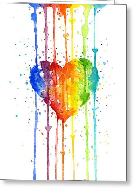 Rainbow Colors Greeting Cards - Rainbow Watercolor Heart Greeting Card by Olga Shvartsur