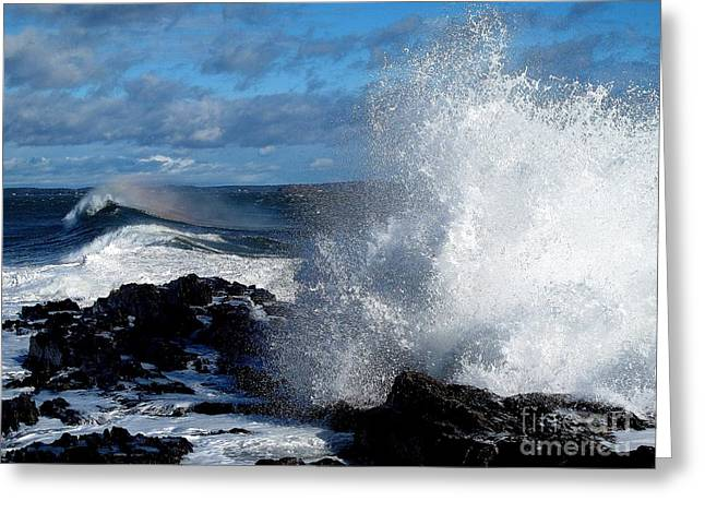 Maine Shore Greeting Cards - Rainbow Wave Greeting Card by Donnie Freeman