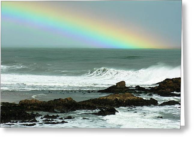 Steamer Lane Greeting Cards - Rainbow Wave Greeting Card by Ru Tover