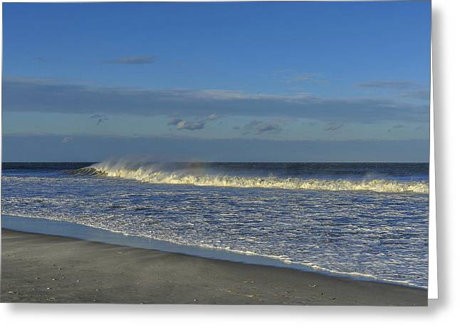 Fun New Art Greeting Cards - Rainbow Wave Seaside New Jersey Greeting Card by Terry DeLuco