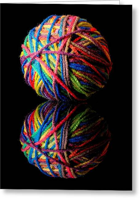 Knitting Greeting Cards - Rainbow Yarn and Reflection Greeting Card by Jim Hughes