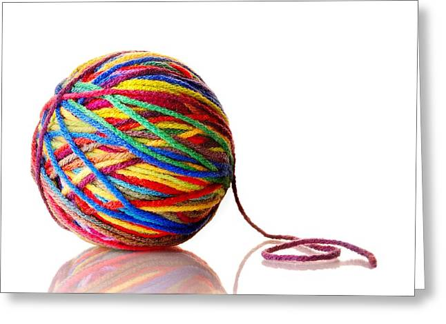 Knitting Greeting Cards - Rainbow Yarn Greeting Card by Jim Hughes