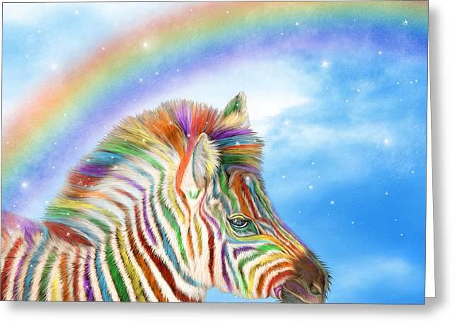 Children S Room Mixed Media Greeting Cards - Rainbow Zebra Greeting Card by Carol Cavalaris