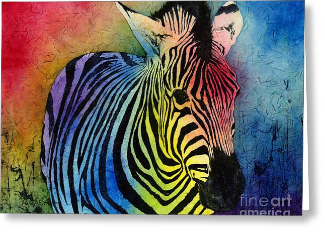 Unique Art Paintings Greeting Cards - Rainbow Zebra Greeting Card by Hailey E Herrera