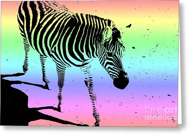 Creative Manipulation Digital Greeting Cards - Rainbow Zebra Greeting Card by Janice Rae Pariza