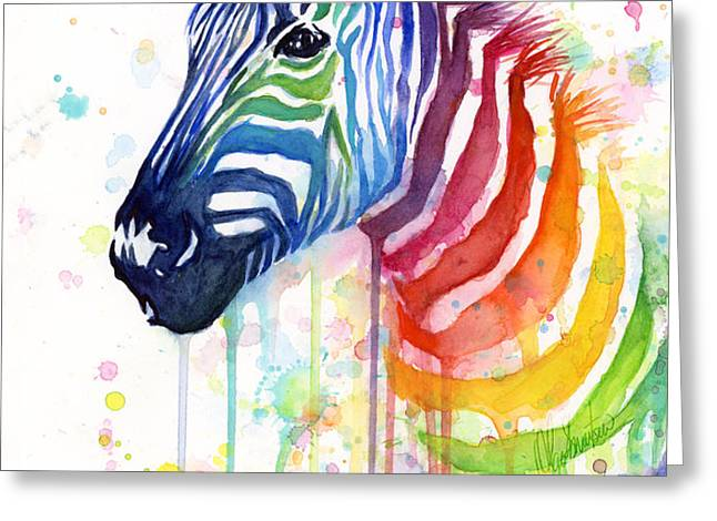 Rainbow Zebra - Ode to Fruit Stripes Greeting Card by Olga Shvartsur