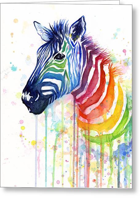 Zebras Greeting Cards - Rainbow Zebra - Ode to Fruit Stripes Greeting Card by Olga Shvartsur