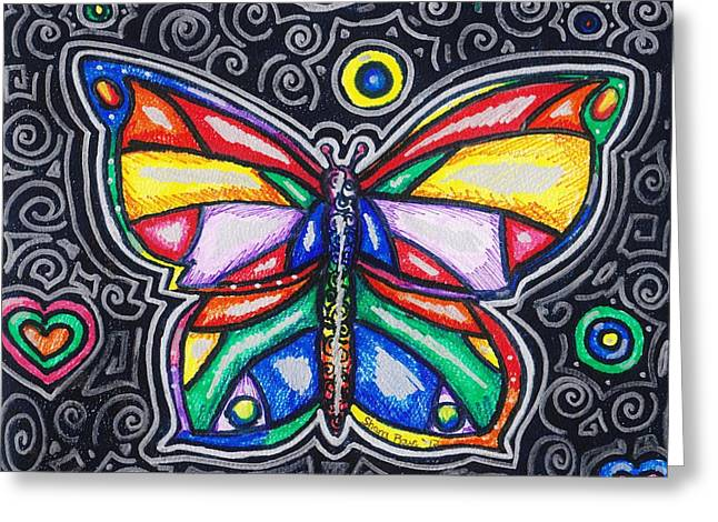 Colorful Creatures Drawings Greeting Cards - Rainbows and Butterflies Greeting Card by Shana Rowe