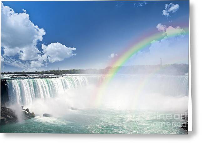 Rapids Greeting Cards - Rainbows at Niagara Falls Greeting Card by Elena Elisseeva