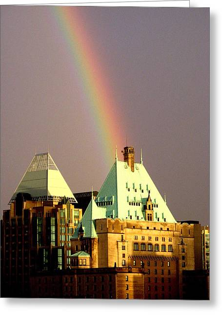 Overcast Day Greeting Cards - Rainbows End Greeting Card by Brian Chase