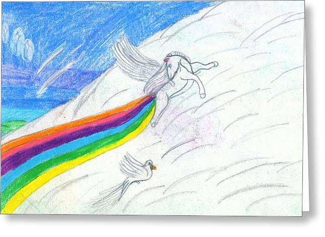 Extinct And Mythical Drawings Greeting Cards - Making Rainbows Greeting Card by Kd Neeley