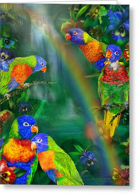 Parrot Art Print Greeting Cards - Rainbows In Paradise Greeting Card by Carol Cavalaris