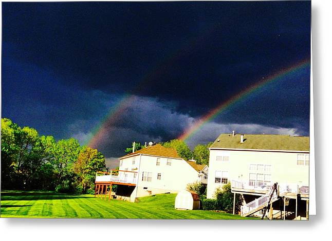 Double Rainbow Greeting Cards - Rainbows in Pennsylvania  Greeting Card by Parker O