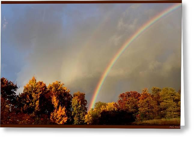 Lens Mixed Media Greeting Cards - Rainbows Of Autumn Greeting Card by Debra     Vatalaro