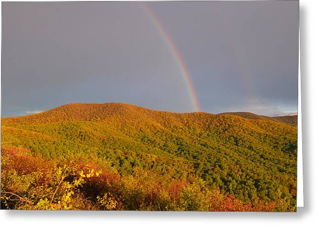 Double Rainbow Greeting Cards - Rainbows on the Ridge Greeting Card by Rachel Cohen