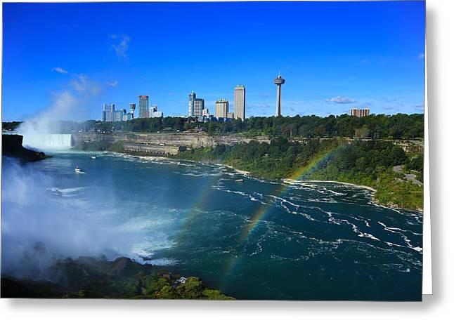 Double Rainbow Greeting Cards - Rainbows Over Niagara Greeting Card by Rachel Cohen