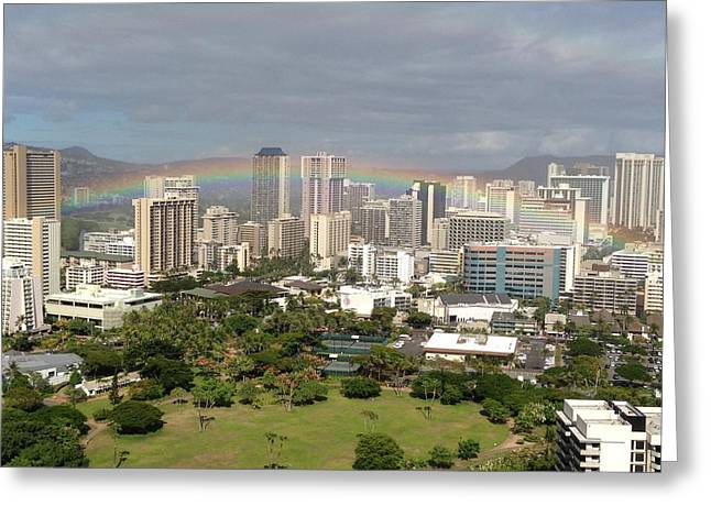Rainbow Pyrography Greeting Cards - Rainbows Over Oahu Greeting Card by Linda Smith