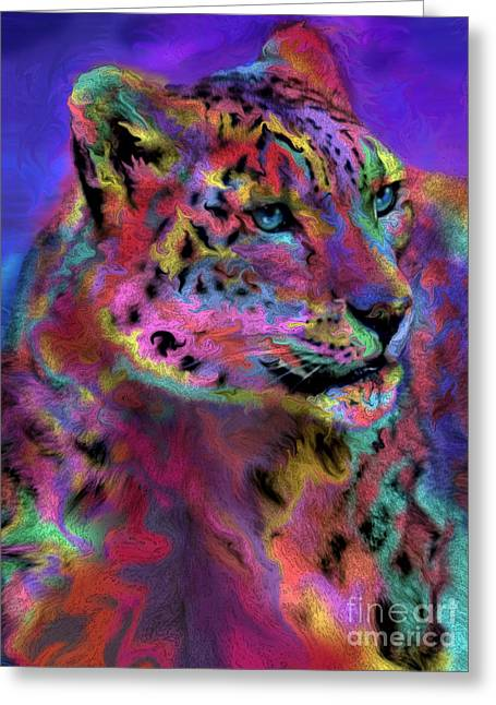 Snow Leopard Greeting Cards - Rainbows Snow Leopard Greeting Card by Alixandra Mullins