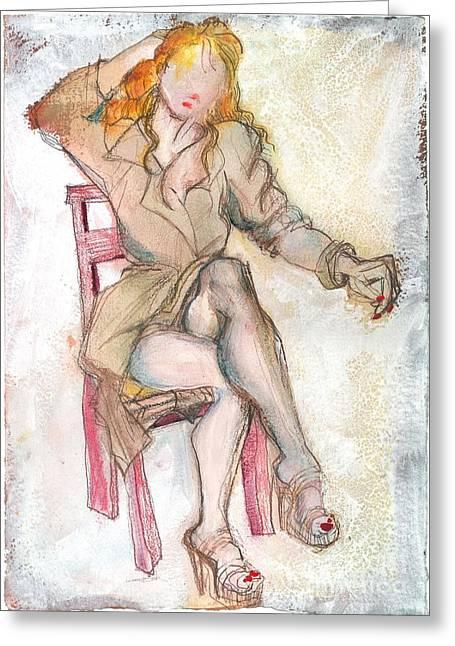 Raincoat Girl Greeting Card by Carolyn Weltman