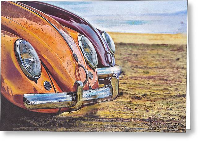 Vw Beetle Pastels Greeting Cards - Raindrops Greeting Card by Art Haus Ink