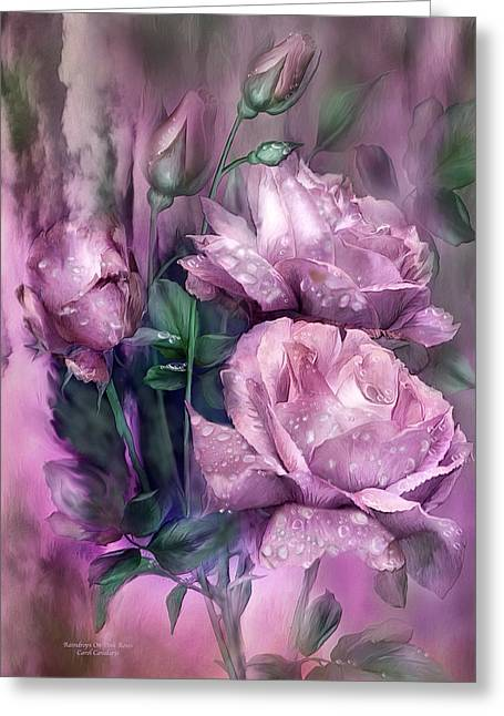 Pink Flower Prints Greeting Cards - Raindrops On Pink Roses Greeting Card by Carol Cavalaris