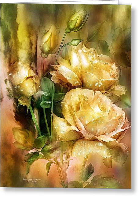 Roses Greeting Cards - Raindrops On Yellow Roses Greeting Card by Carol Cavalaris