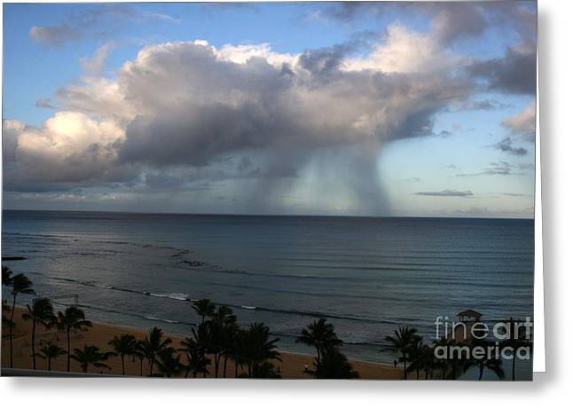 Surfing Art Greeting Cards - Rainfall On Ocean Greeting Card by Mary Mikawoz