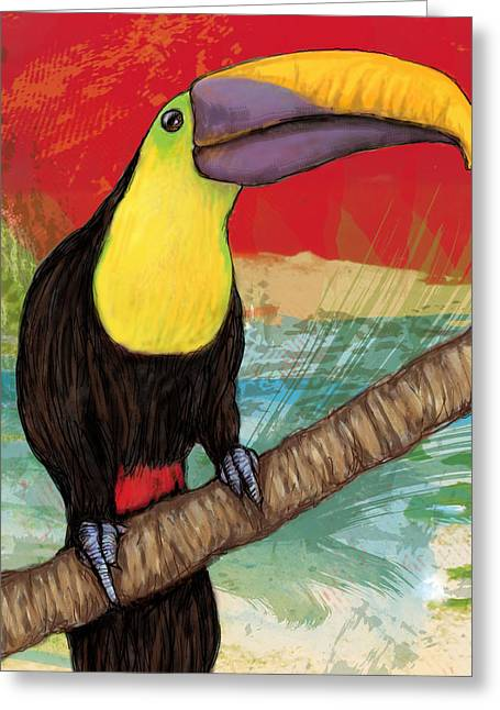 Rainforest Greeting Cards - Rainforest Bird - Keel Billed Toucan Stylised Pop Art Drawing Potrait Poser Greeting Card by Kim Wang