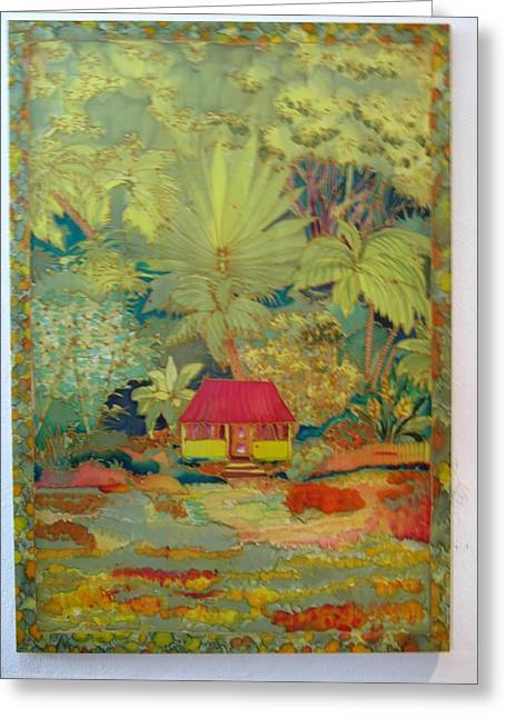 Island Tapestries - Textiles Greeting Cards - Rainforest Cottage Greeting Card by Nandy King