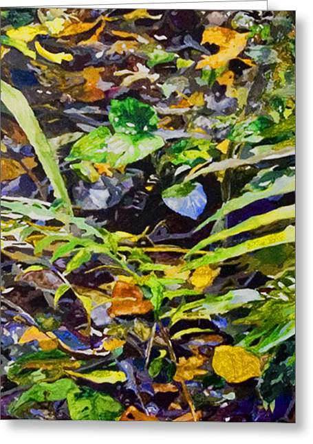 Green Leafs Reliefs Greeting Cards - Rainforest Floor 2 Greeting Card by Sue Burickson
