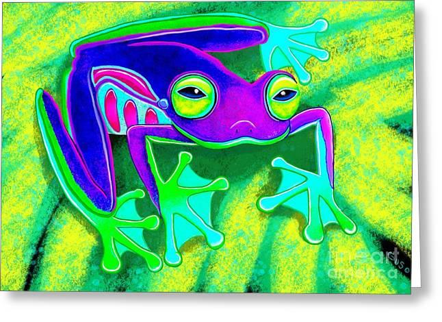 Amphibians Digital Art Greeting Cards - Rainforest Frog Greeting Card by Nick Gustafson