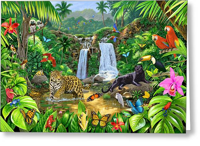 Jungle Animals Greeting Cards - Rainforest Harmony Variant 1 Greeting Card by Chris Heitt