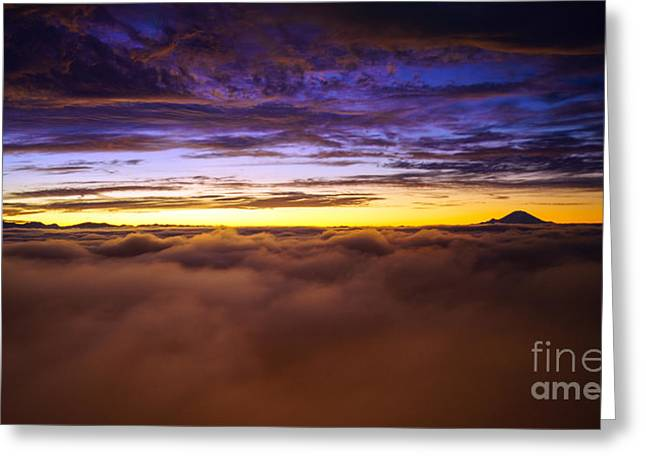 Mike Reid Greeting Cards - Rainier Above the Clouds Greeting Card by Mike Reid