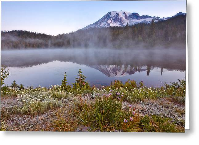 Fog; Landscape; Mist; Mountain; Mountains; Nature; Nobody; Outdoors; Outside; River; Rivers Greeting Cards - Rainier Morning Greeting Card by Darren  White