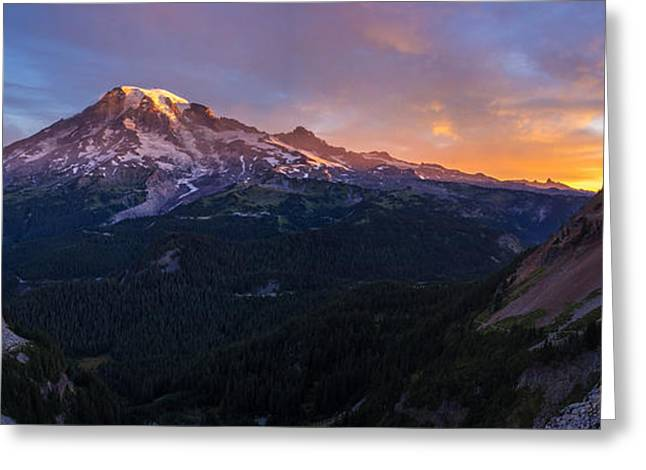 Rainier Soaring Skies Greeting Card by Mike Reid