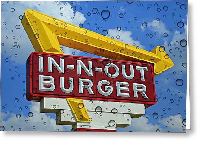 Raining Cali Classic Burgers Greeting Card by Stephen Stookey
