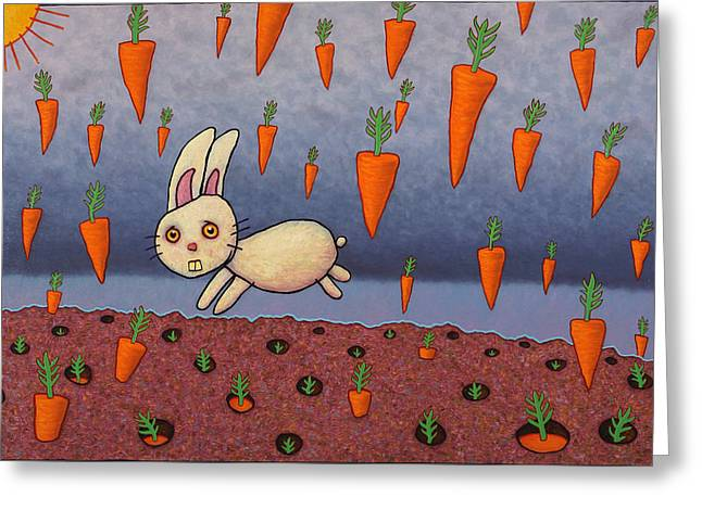 Raining Carrots Greeting Card by James W Johnson