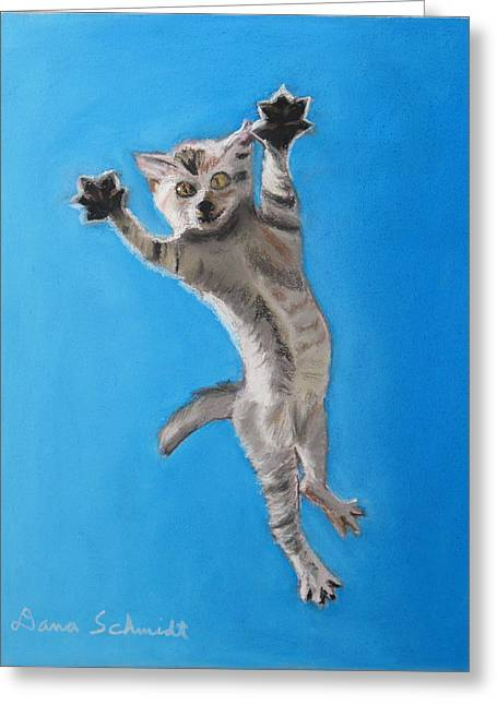 Flying Animal Pastels Greeting Cards - Raining Cats and Dogs Greeting Card by Dana Schmidt