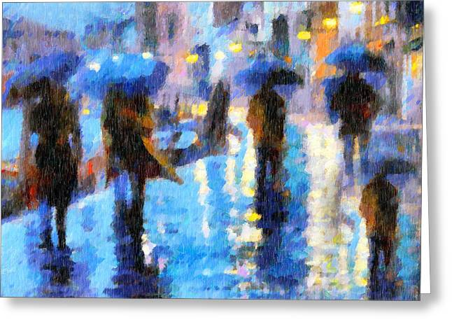 Night Scene Prints Greeting Cards - Raining In Italy Abstract Realism Greeting Card by Georgiana Romanovna