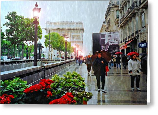 Pouring Greeting Cards - Raining in Paris Greeting Card by Diana Angstadt