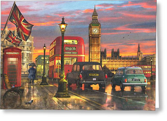 Raining In Parliament Square Variant 1 Greeting Card by Dominic Davison