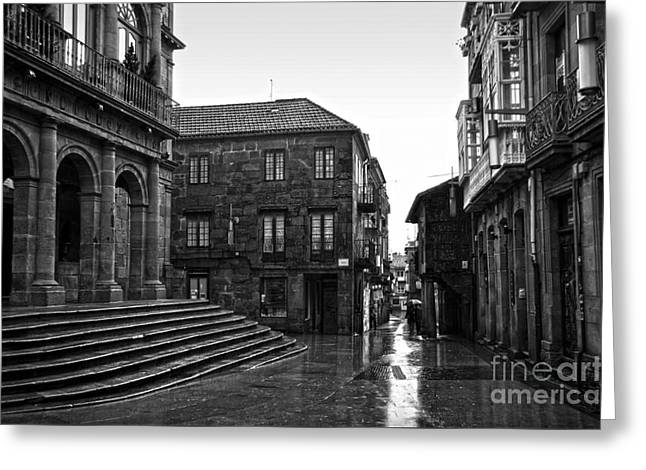 Galicia Greeting Cards - Raining in Pontevedra BW Greeting Card by RicardMN Photography