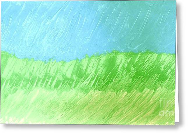 Yellow Line Digital Art Greeting Cards - Raining in the Plains Greeting Card by Marsha Heiken