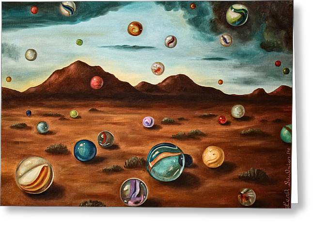 Surreal Landscape Greeting Cards - Raining Marbles edit 6 Greeting Card by Leah Saulnier The Painting Maniac